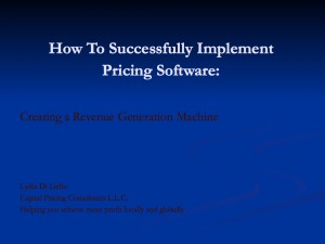 Capital Pricing Consultants LLC - Pricing Software Implementation Presentation